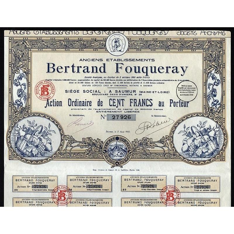 Anciens Etablissements Bertrand Fouqueray Stock Certificate