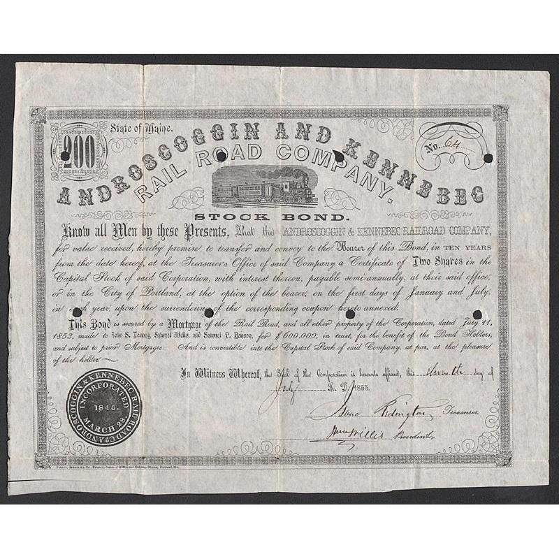 Androscoggin and Kennebec Rail Road Company Stock Certificate