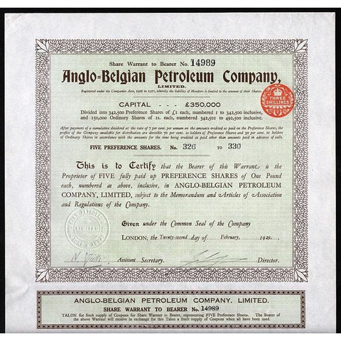Anglo-Belgian Petroleum Company, Limited Stock Certificate