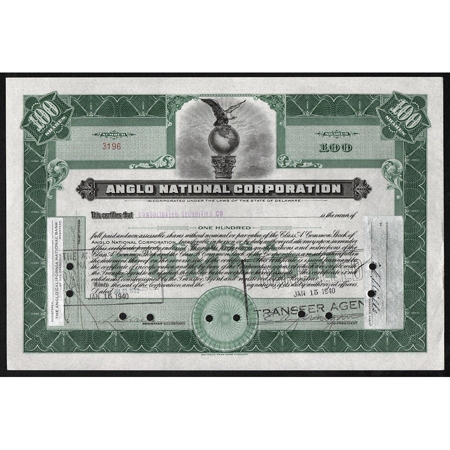Anglo National Corporation Stock Certificate