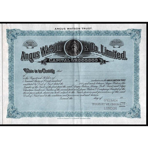 Angus Watson & Co., Limited (Specimen) Stock Certificate
