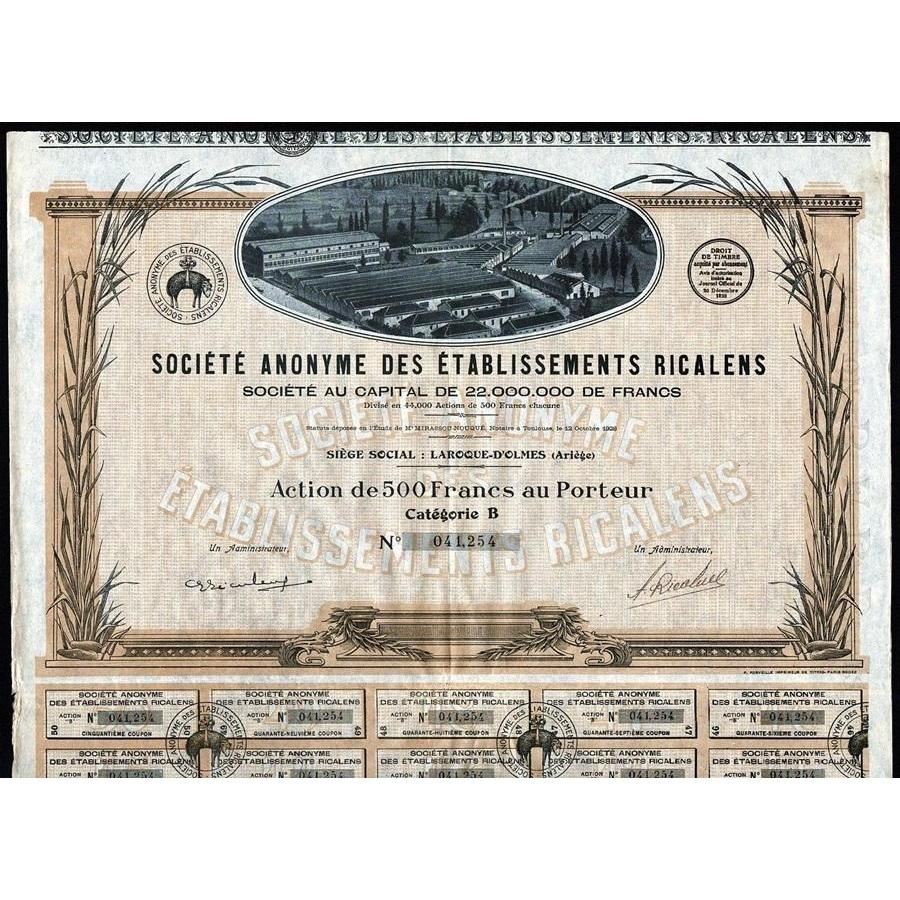 Anonyme des Etablissements Ricalens Stock Certificate