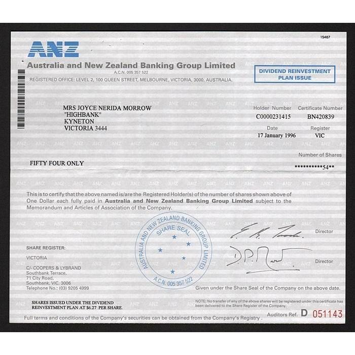 ANZ, Australia and New Zealand Banking Group Limited Stock Certificate