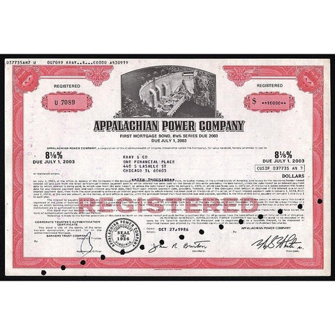 Appalachian Power Company Stock Certificate