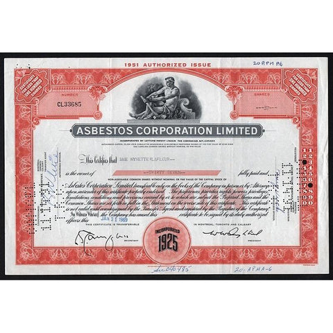Asbestos Corporation Limited Stock Certificate