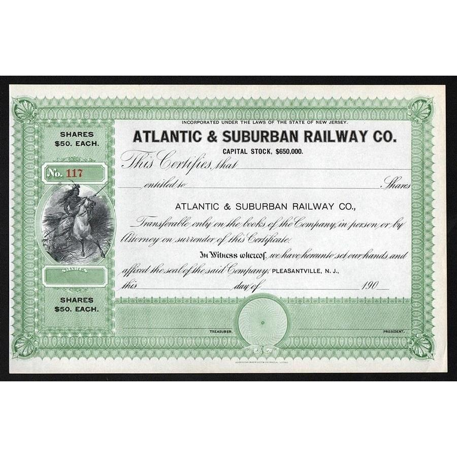 Atlantic & Suburban Railway Co. Stock Certificate