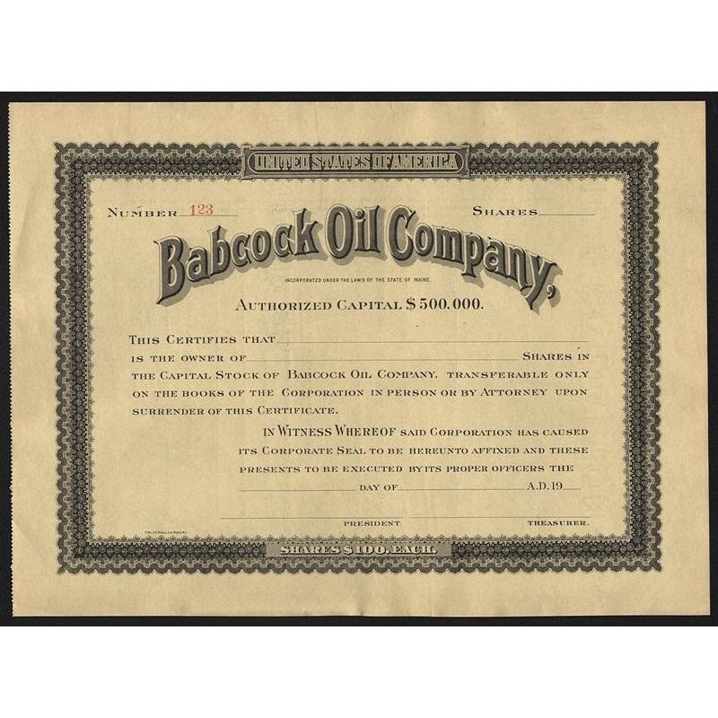 Babcock Oil Company Stock Certificate
