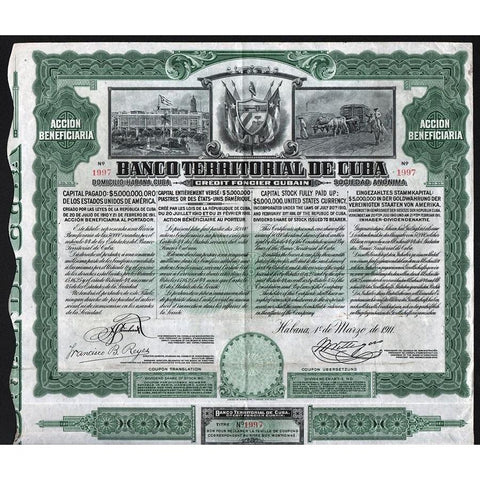 Banco Territorial De Cuba - Credit Foncien Cubain, Accion Beneficiaria Stock Certificate