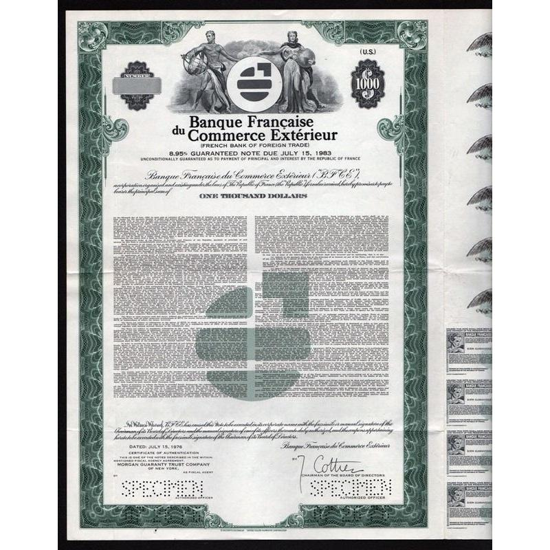 Banque Francaise du Commerce Exterieur / French Bank of Foreign Trade (Specimen) Stock Certificate