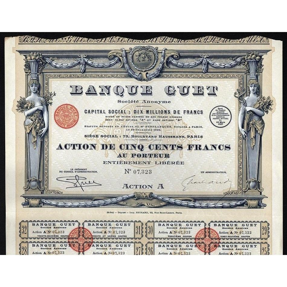 Banque Guet Societe Anonyme Stock Certificate
