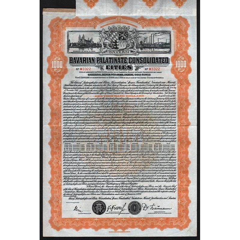 Bavarian Palatinate Consolidated Cities Stock Certificate