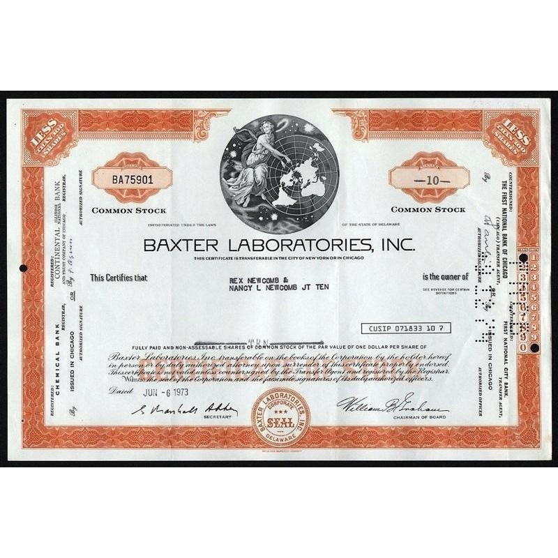 Baxter Laboratories, Inc. Stock Certificate