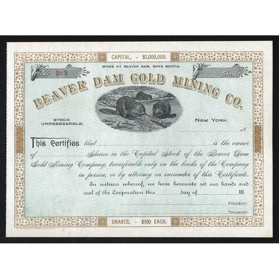 Beaver Dam Gold Mining Co. Stock Certificate
