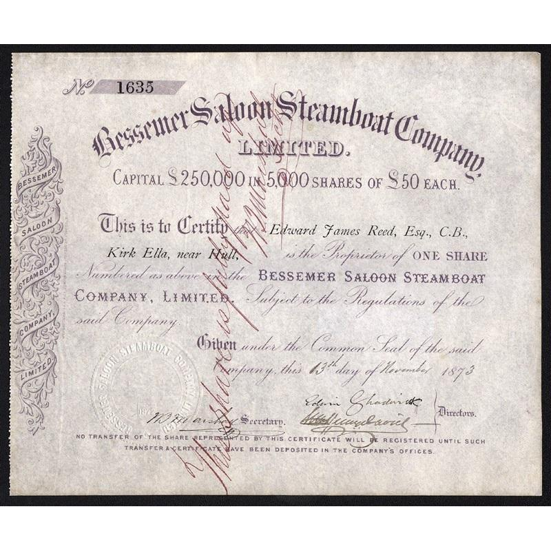 Bessemer Saloon Steamboat Company, Limited Stock Certificate