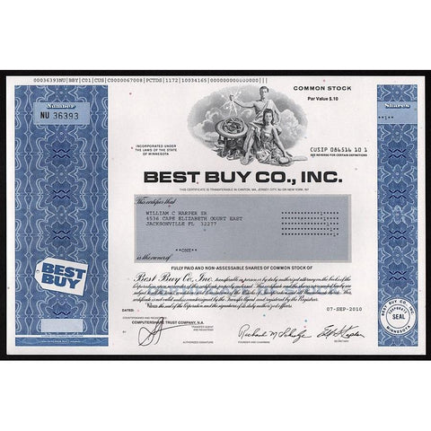 Best Buy Co., Inc. Stock Certificate