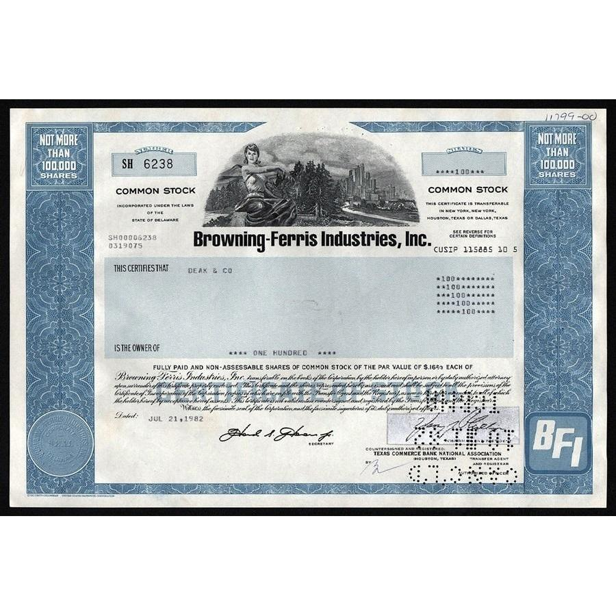 BFI - Browning-Ferris Industries, Inc. (Waste Removal) Stock Certificate