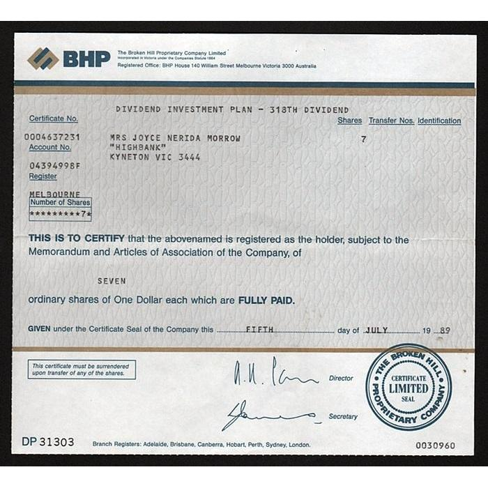 BHP, The Broken Hill Proprietary Company Limited Stock Certificate