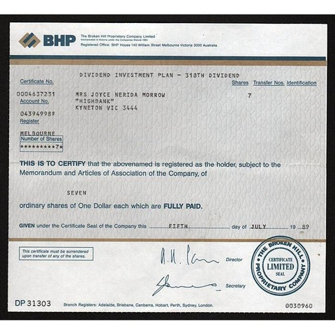 BHP, The Broken Hill Proprietary Company Limited Victoria Australia Stock Certificate