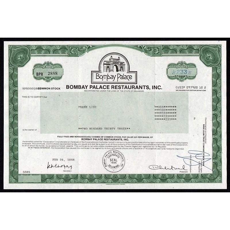 Bombay Palace Restaurants Stock Certificate