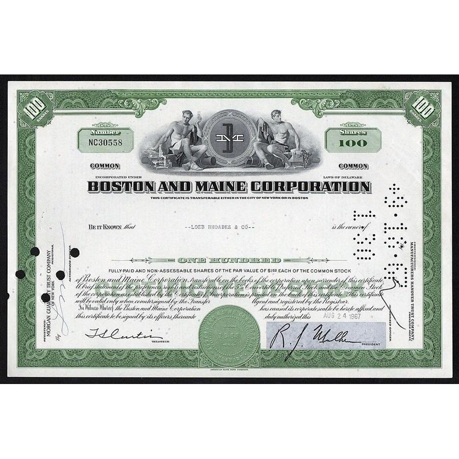 Boston and Maine Corporation Stock Certificate