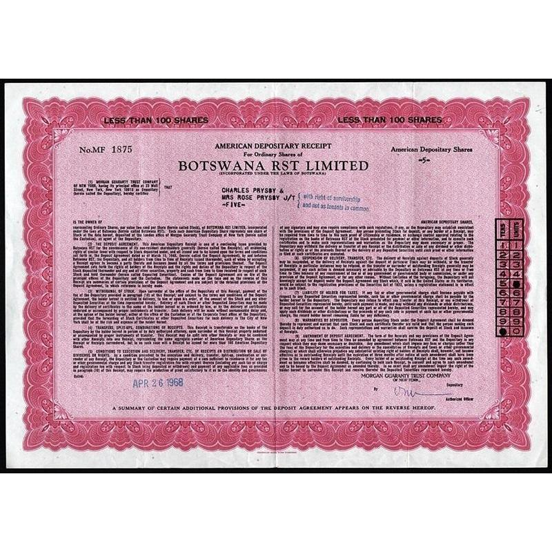 Botswana RST Limited, American Depository Receipt Stock Certificate