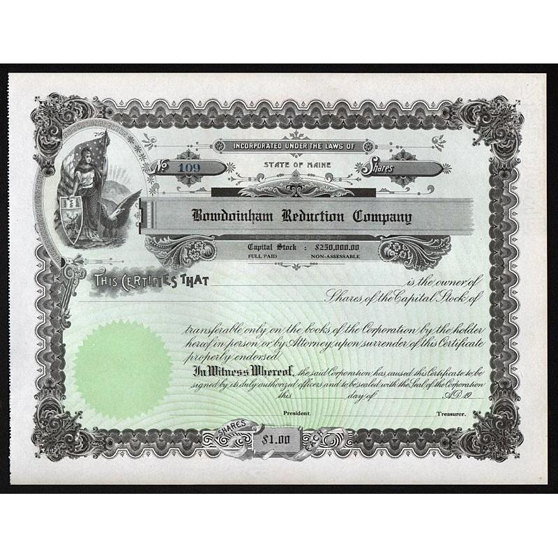 Bowdoinham Reduction Company Stock Certificate