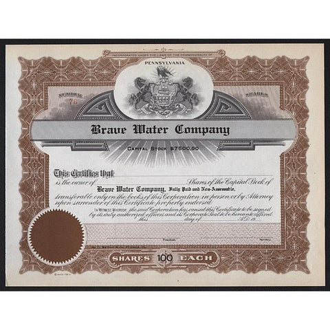 Brave Water Company Stock Certificate