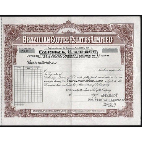 Brazilian Coffee Estates Limited (Specimen) Stock Certificate