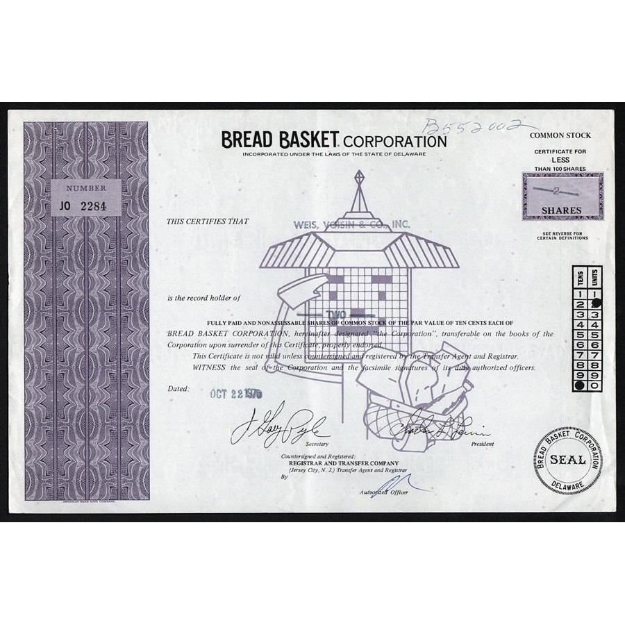 Bread Basket Corporation Stock Certificate