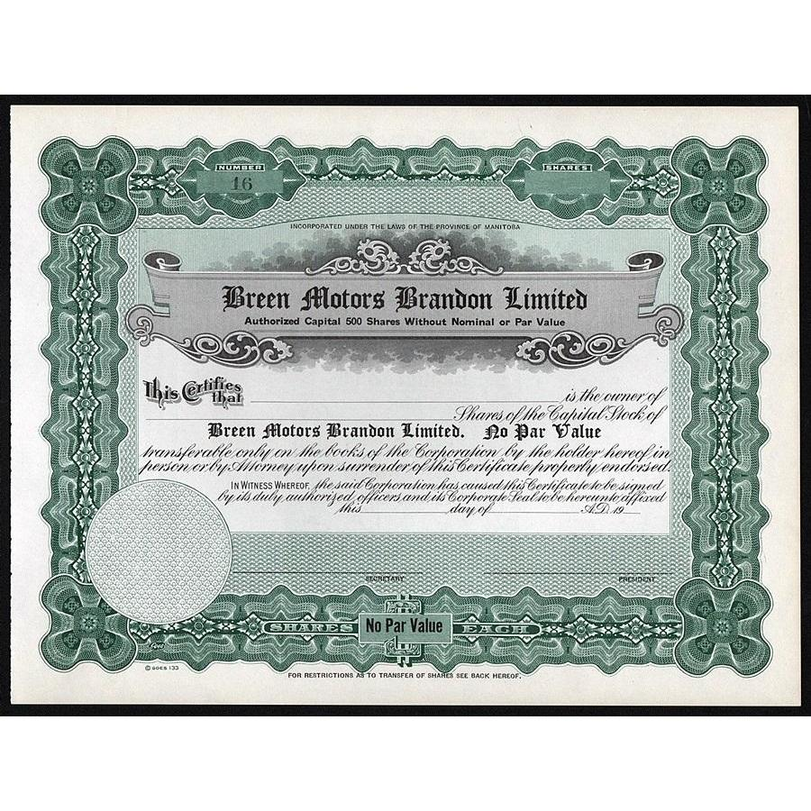 Breen Motors Brandon Limited (Manitoba) Stock Certificate