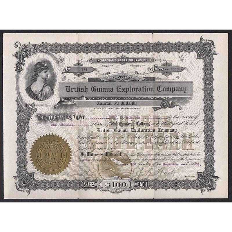 British Guiana Exploration Company Stock Certificate