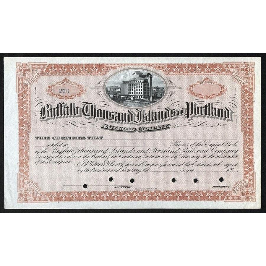 Buffalo Thousand Islands and Portland Railroad Company Stock Certificate