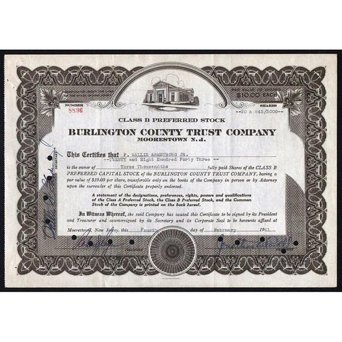 Burlington County Trust Company (Moorestown N.J.) Stock Certificate