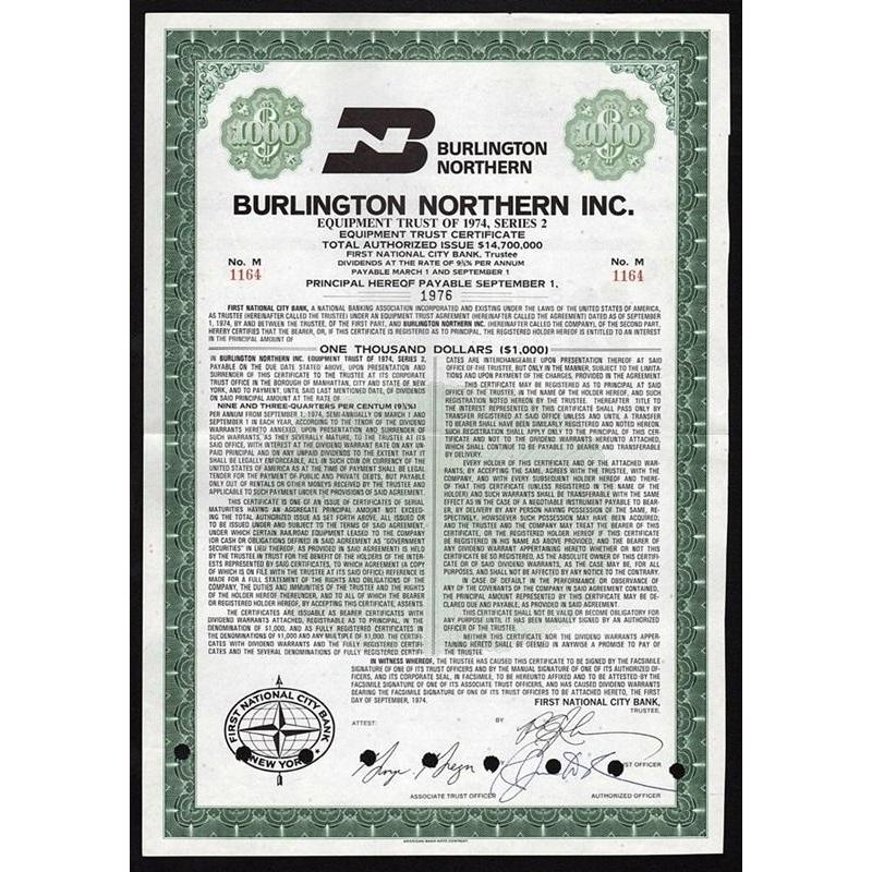 Burlington Northern Inc. Stock Certificate