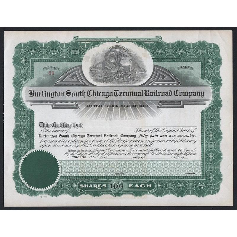 Burlington South Chicago Terminal Railroad Company Stock Certificate