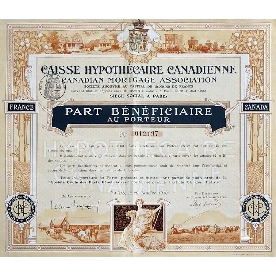 Caisse Hypothecaire Canadienne / Canadian Mortgage Association Stock Certificate