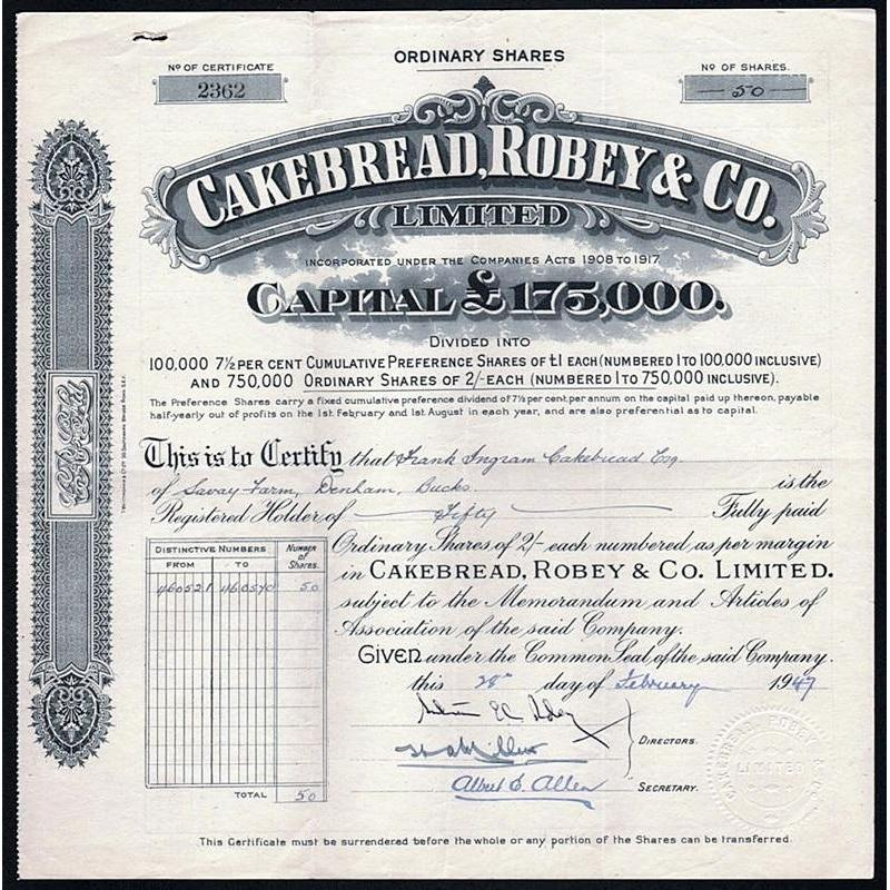 Cakebread, Robey & Co. Limited Stock Certificate