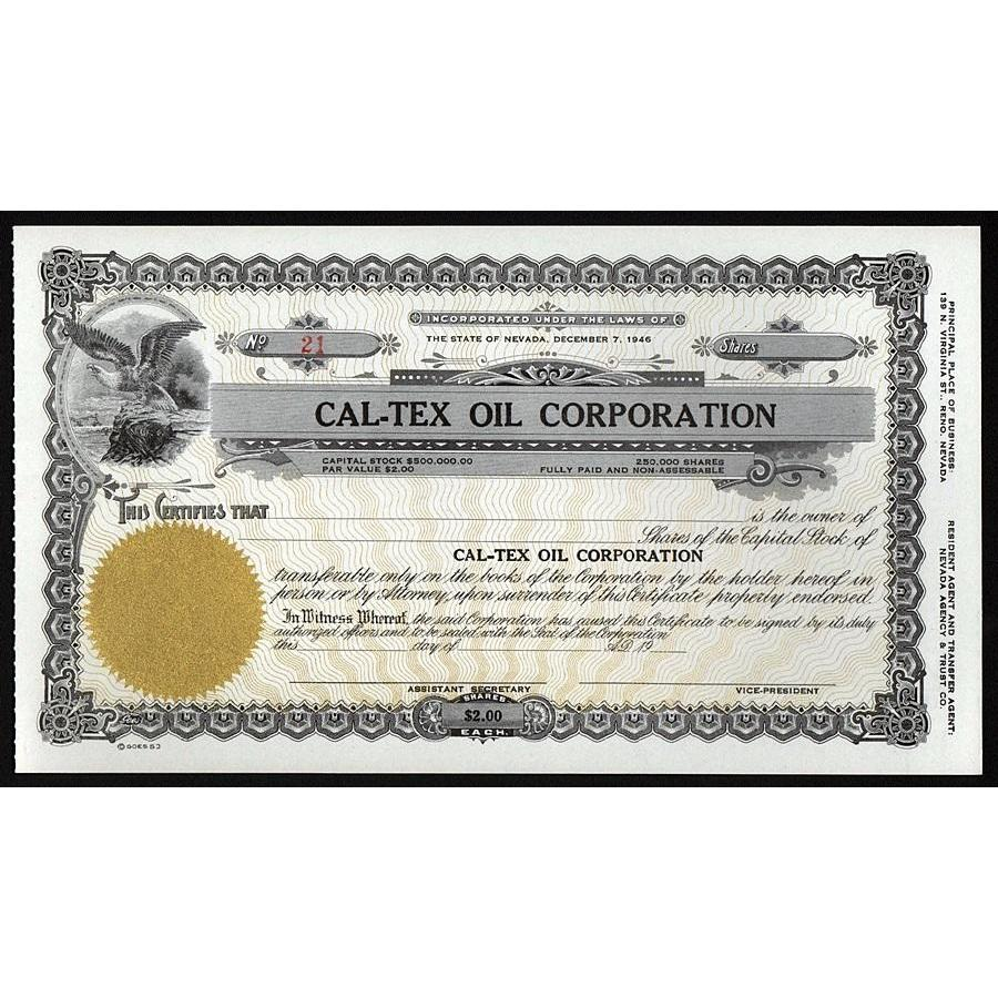 Cal-Tex Oil Corporation Stock Certificate