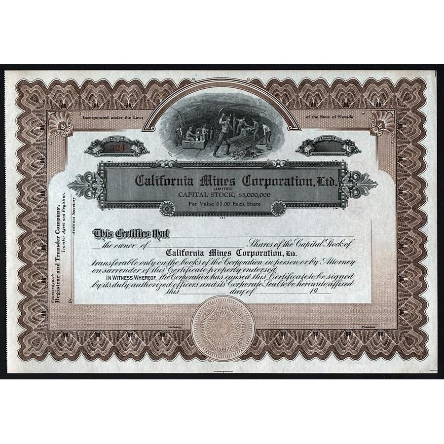 California Mines Corporation, Ltd. Stock Certificate