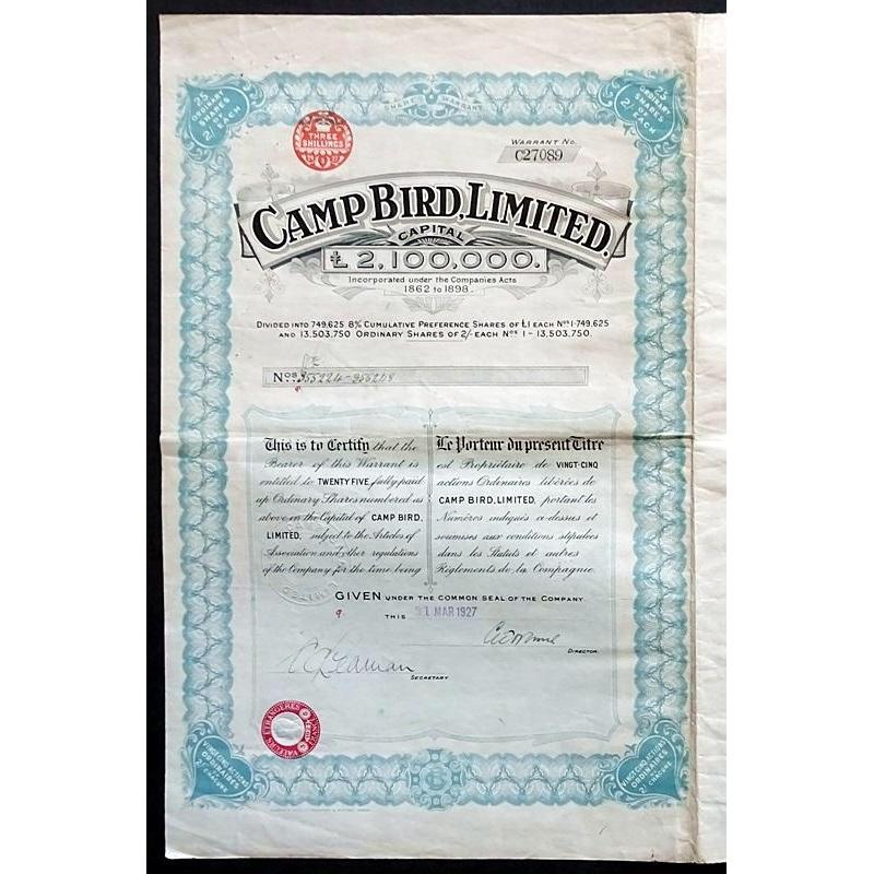 Camp Bird Limited Stock Certificate
