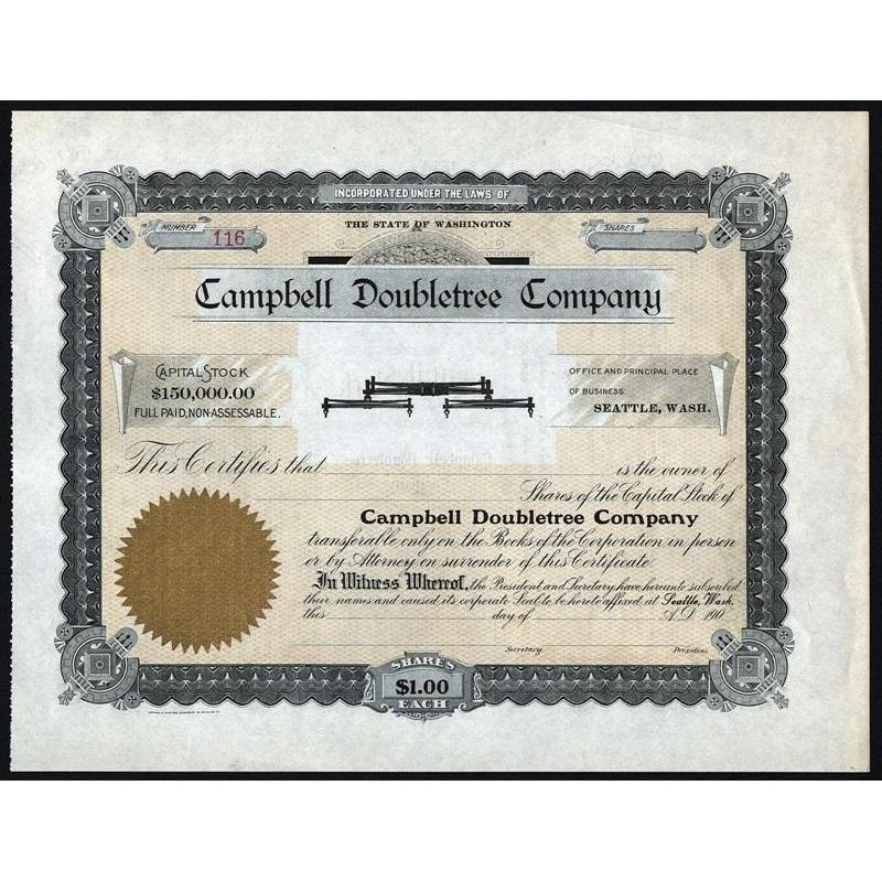 Campbell Doubletree Company (Horse Tree Harness Vignette) Stock Certificate