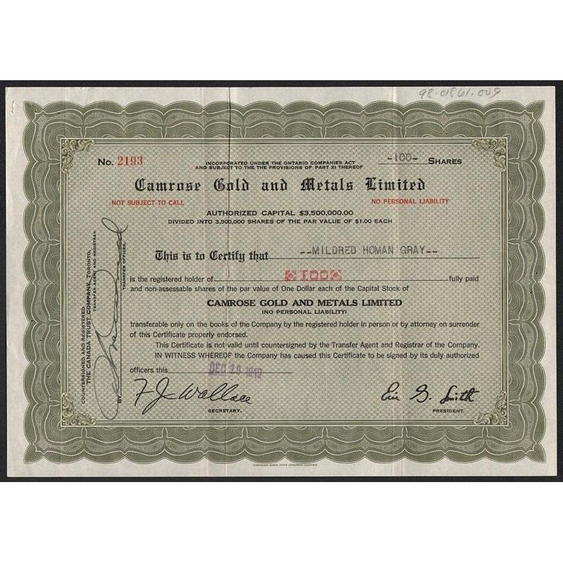 Camrose Gold and Metals Limited Stock Certificate