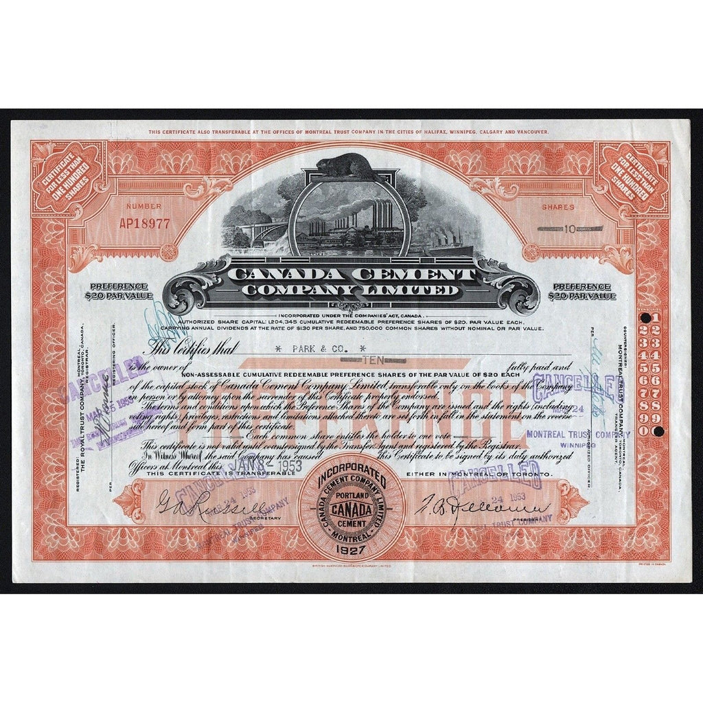 Canada Cement Company Limited Stock Certificate