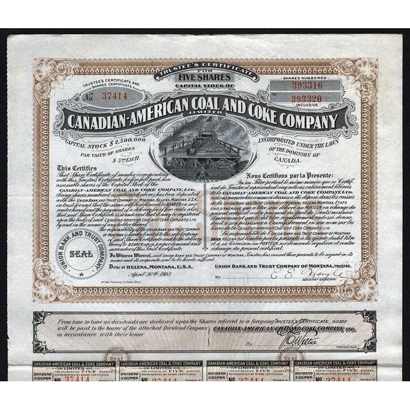 Canadian-American Coal and Coke Company Limited 1903 Helena Montana Stock Certificate