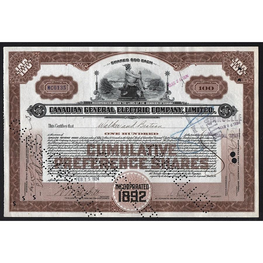 Canadian General Electric Company, Limited Stock Certificate