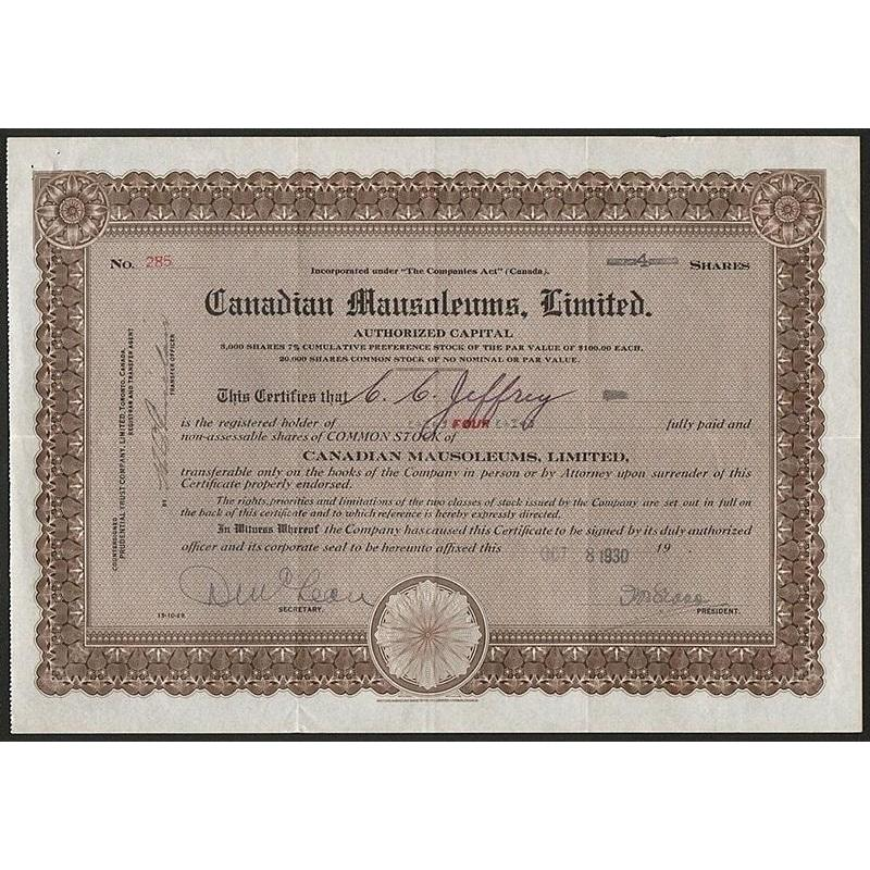 Canadian Mausoleums, Limited Stock Certificate