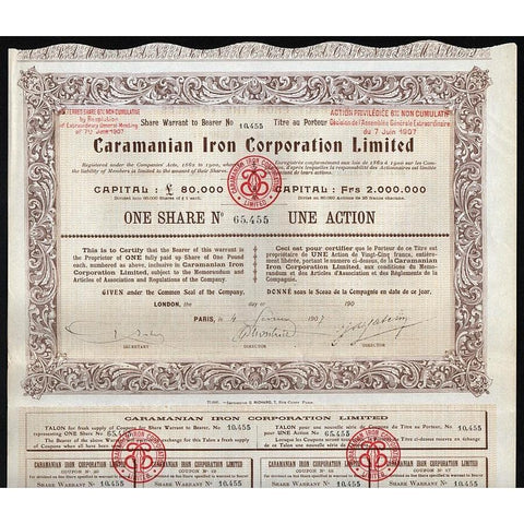 Caramanian Iron Corporation, Limited Stock Certificate