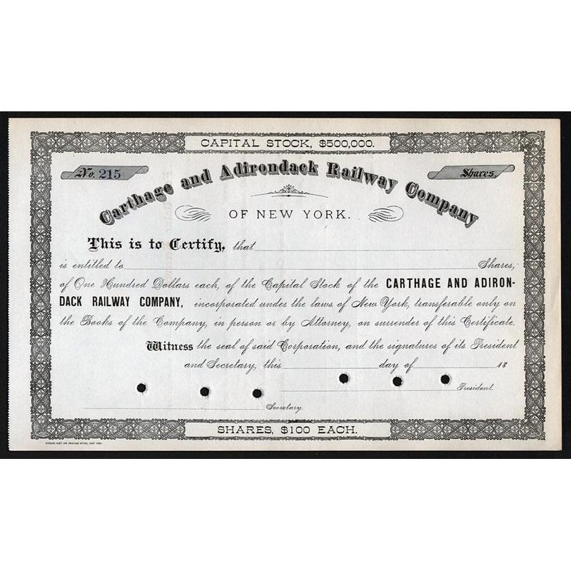 Carthage and Adirondack Railway Company of New York Stock Certificate