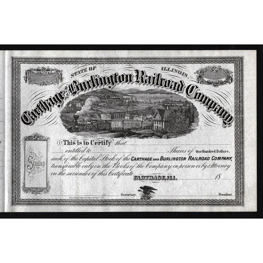 Carthage and Burlington Railroad Company Stock Certificate