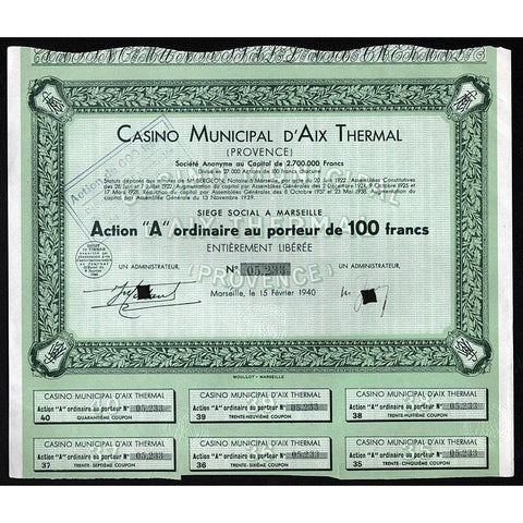 Casino Municipal d'Aix Thermal (Provence) Societe Anonyme Stock Certificate